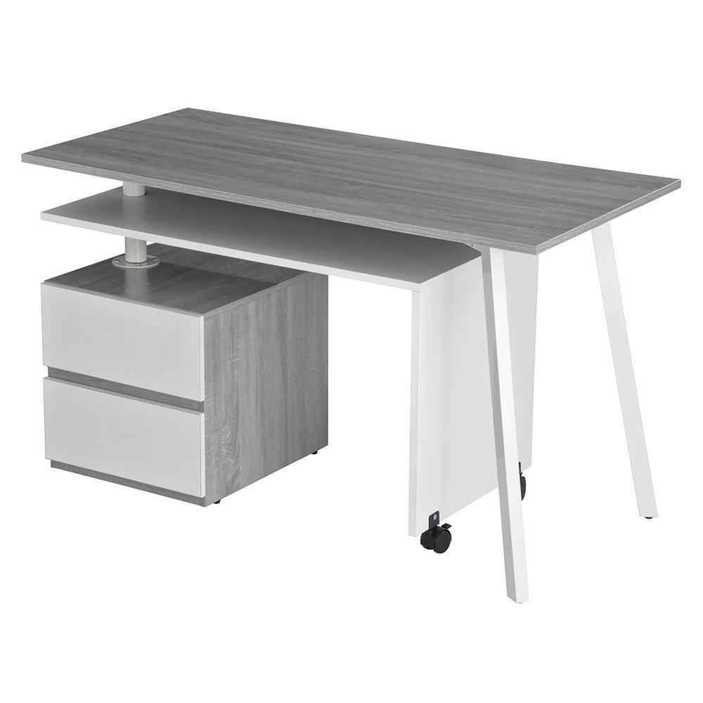 Gray Rotating Multi-Positional Modern Desk