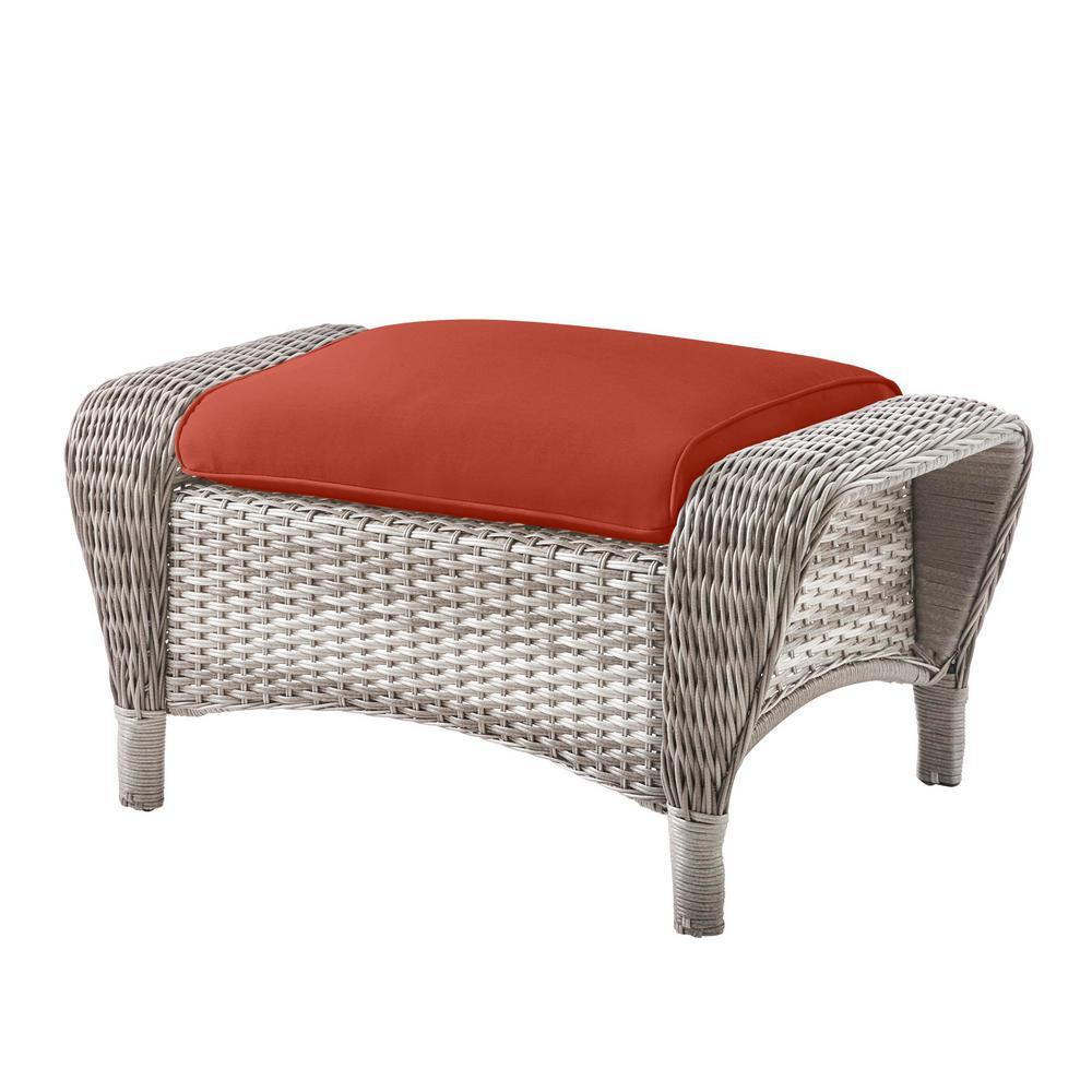 Beacon Park Gray Wicker Outdoor Patio Ottoman with Sunbrella Henna Red Cushions
