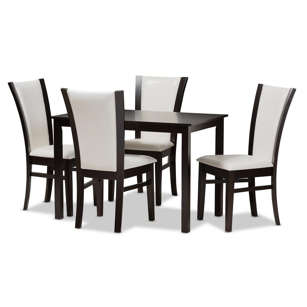 Adley 5-Piece White and Dark Brown Dining Set