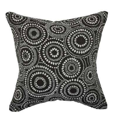 Black Circle Link Dotted Throw Pillow