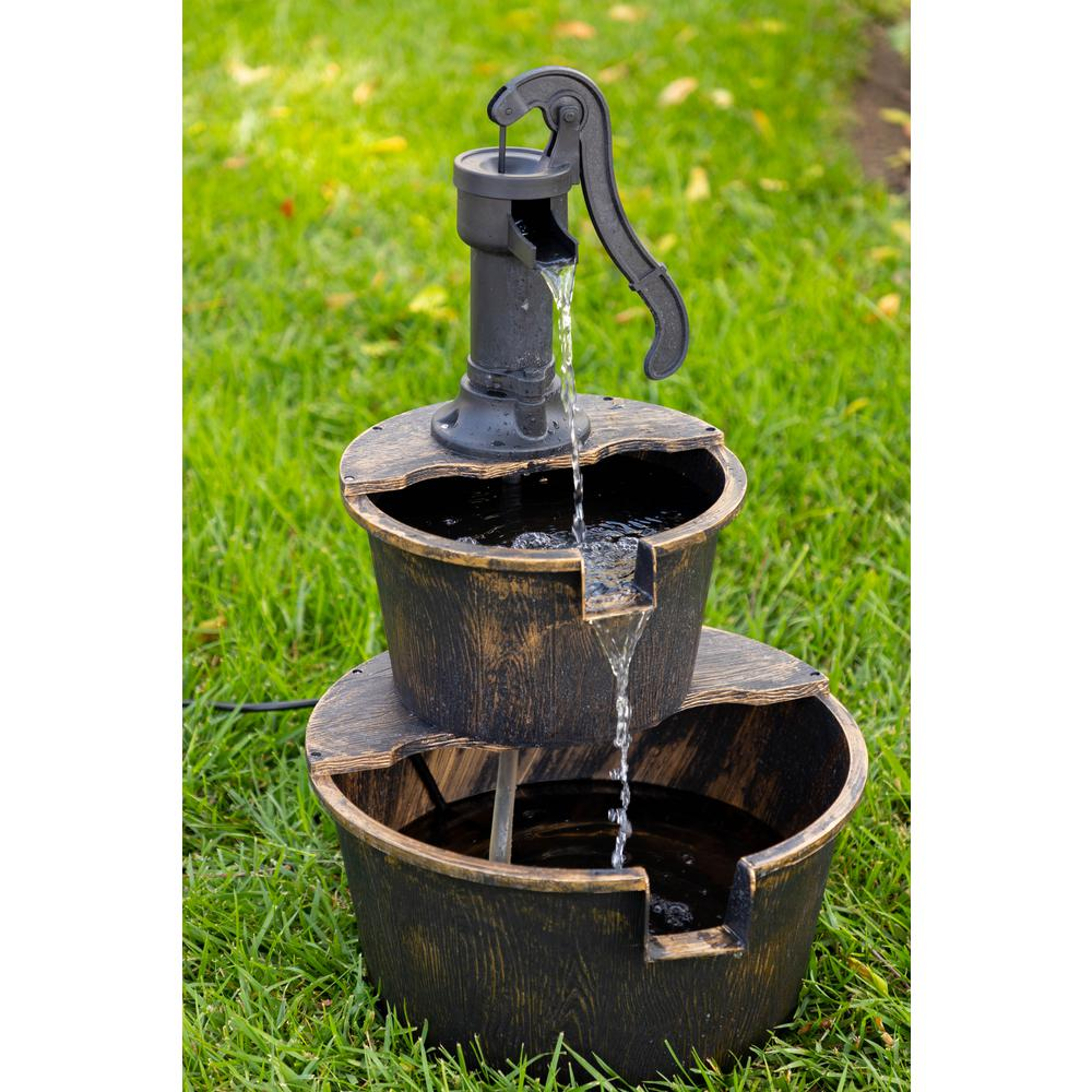 Alpine Corporation 2 Tiered Outdoor Waterfall Rustic Pump Barrel Fountain