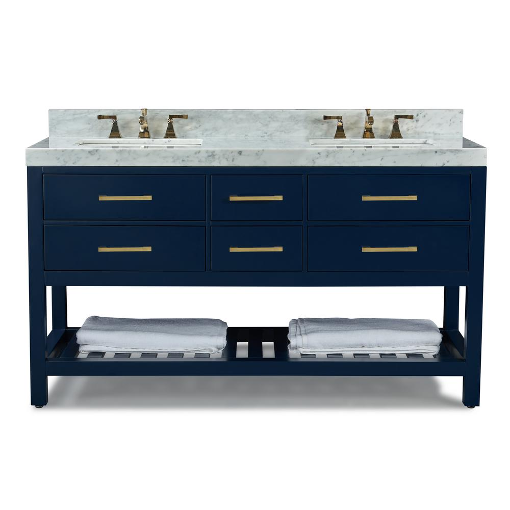 Ancerre Designs 60 in. W x 22 in. D Bath Vanity in Heritage Blue w/ Marble Vanity Top in White w/ White Basin and Gold Hardware