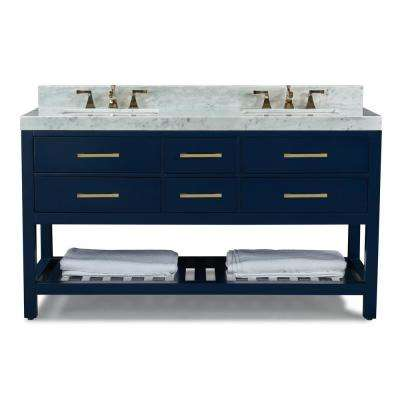 60 in. W x 22 in. D Bath Vanity in Heritage Blue w/ Marble Vanity Top in White w/ White Basin and Gold Hardware
