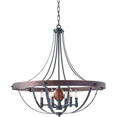 Alston 30.5 in. W 6-Light Weathered Charcoal Brick/Antique Forged Iron Rustic Chandelier with Faux Wood Detail