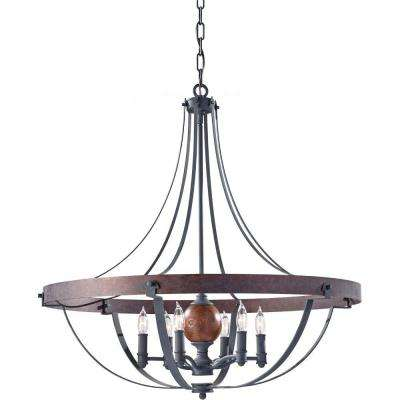 Alston 6-Light Charcoal Brick/Acorn 1-Tier Chandelier