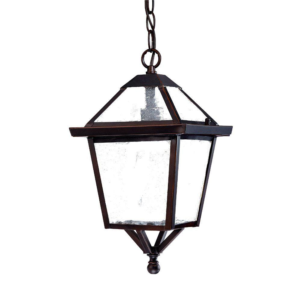 Bay Street Collection 1-Light Architectural Bronze Outdoor Hanging Light Fixture