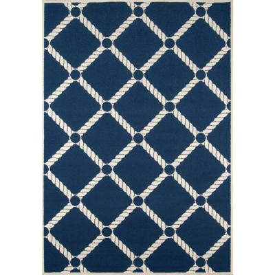 Baja Nautical Rope Navy 6 ft. 7 in. x 9 ft. 6 in. Indoor/Outdoor Area Rug