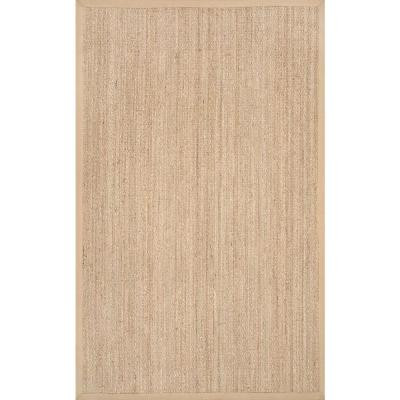 Elijah Seagrass with Border Beige 9 ft. x 12 ft. Area Rug