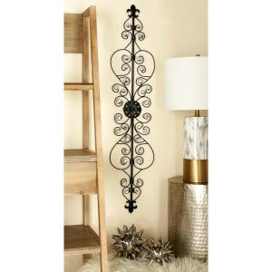 44 inch x 10 inch Glitz-Inspired Iron and Wire Fleur De Lis Wall Decor by