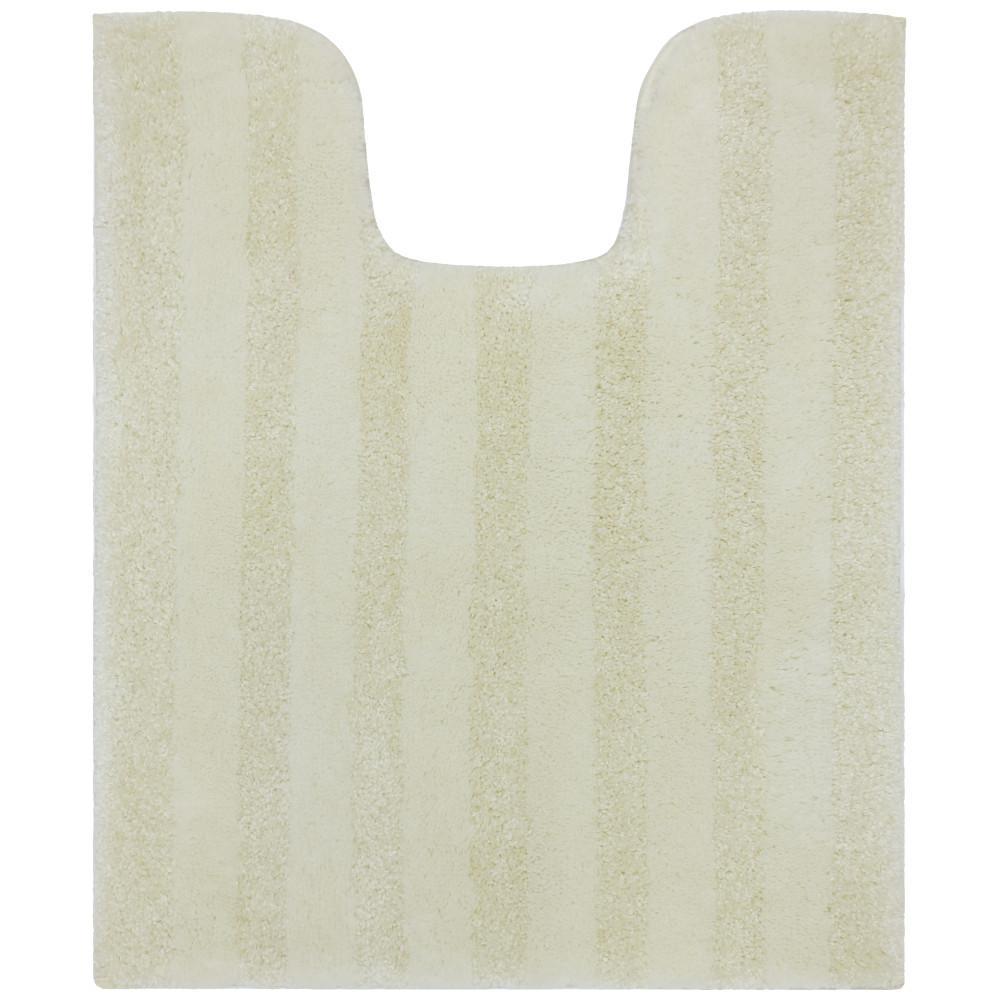 Basic Stripe Antique White 20 in. x 24 in. Nylon Machine Washable Bath Mat