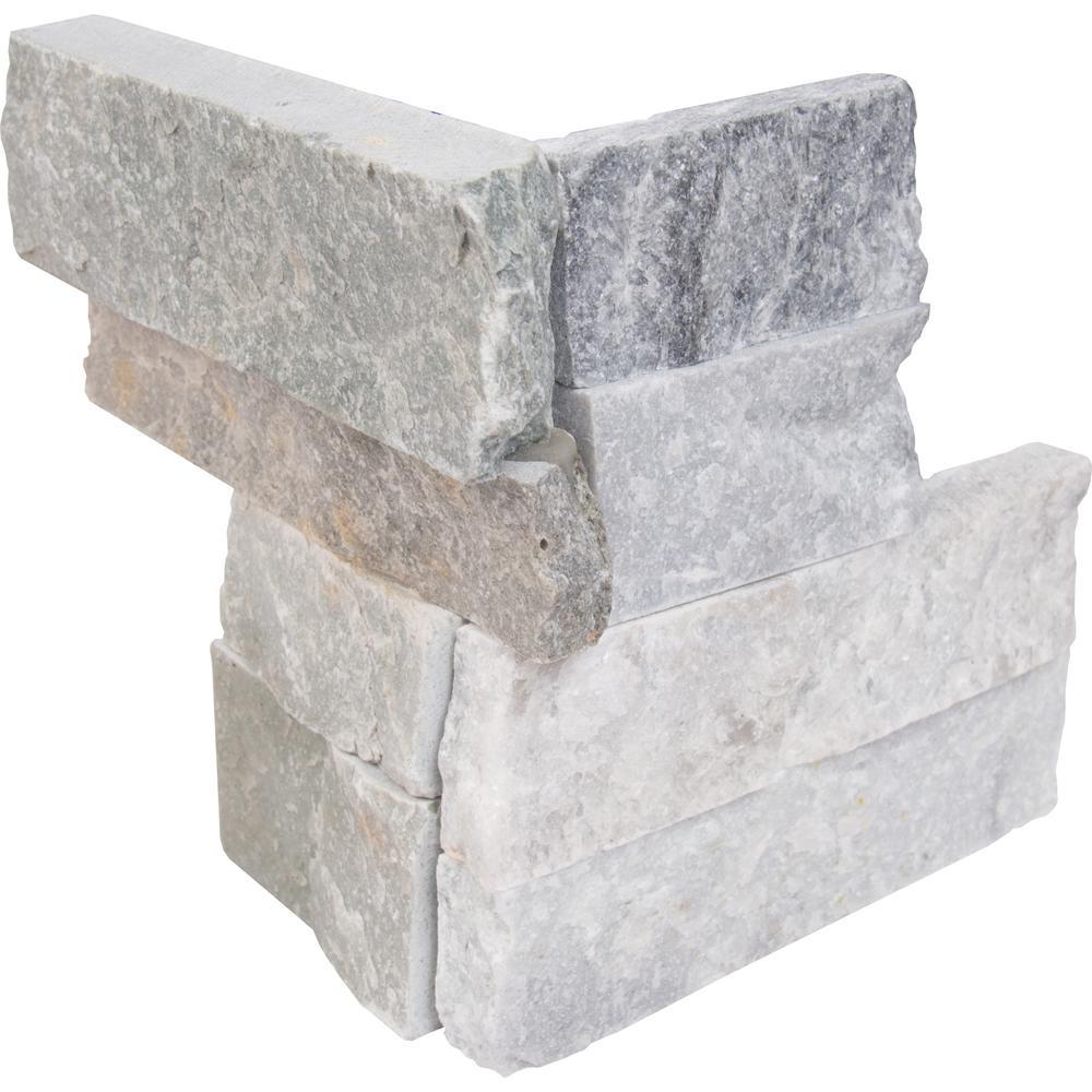 MSI Sierra Blue Ledger Corner 6 in. x 6 in. x 6 in. Natural Quartzite Wall Tile (2 sq. ft. / case)