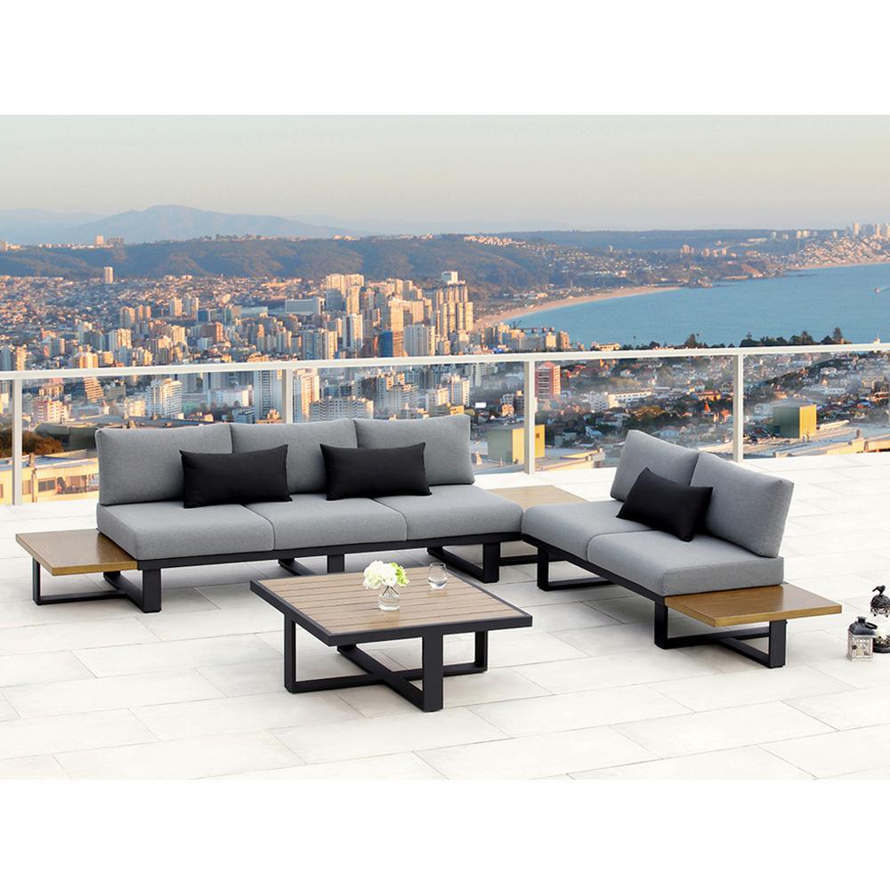 Platform II Black 4-Piece Aluminum Outdoor Sectional Set with Olefin Grey Cushions