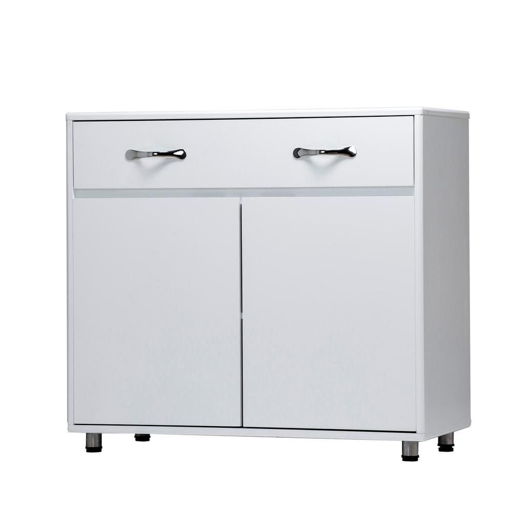 White Contemporary Accent Storage Cabinet