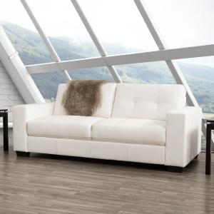 Corliving Club Tufted White Bonded Leather Sofa Lzy 111 S