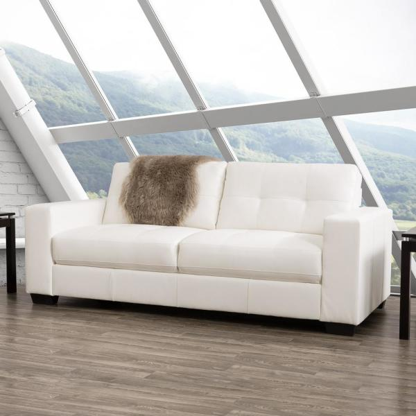 Corliving Club Tufted White Bonded