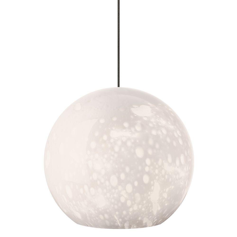 Aquarii 1-Light Satin Nickel Opal LED Hanging Mini Pendant