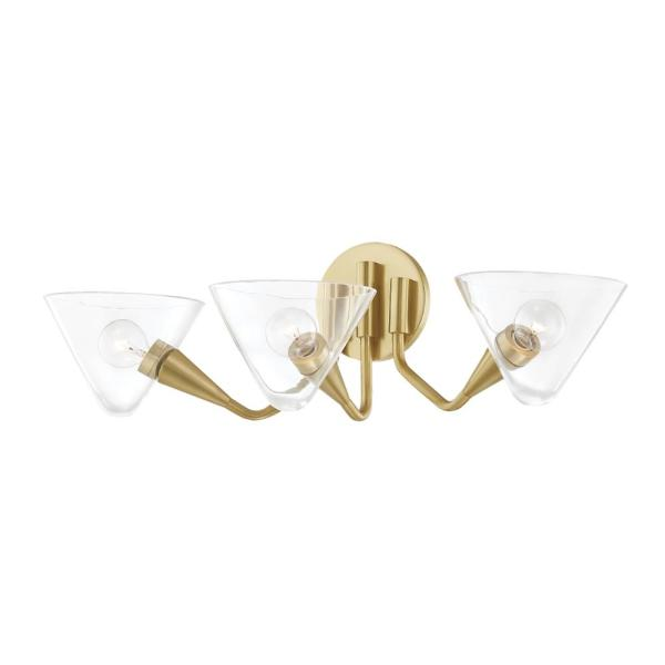 Isabella 3-Light Aged Brass Wall Sconce with Clear Shade