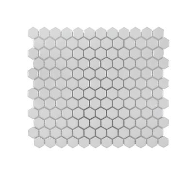 Gardenia White 11.625 in. x 10.125 in. Hexagon Glossy Porcelain Wall and Floor Mosaic Tile (0.817 sq. ft./Each)