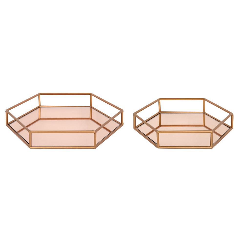 Felicia Rose Gold Decorative Tray(Set of 2)