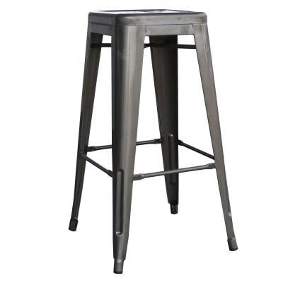 Loft Style 30 in. Stackable Metal Bar Stool in Gunmetal Silver