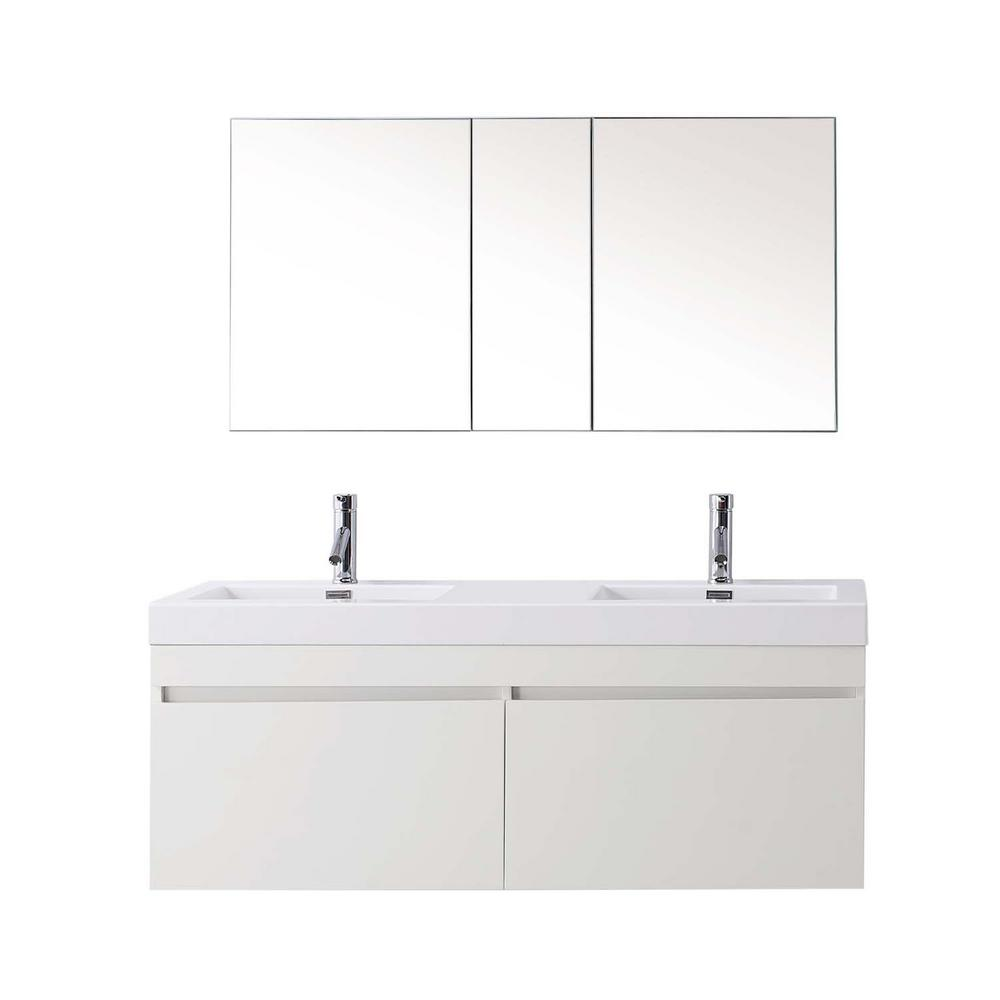 W Double Basin Vanity In Gloss White With Poly Marble Vanity