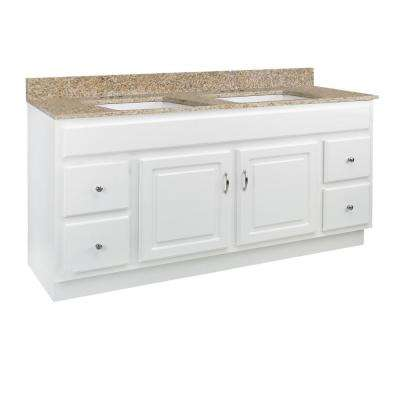 Concord RTA 61 in. x 22 in. x 34 in. 2-Door 4-Drawer Bath Vanity with Golden Sand Granite Vanity Top and White Basins
