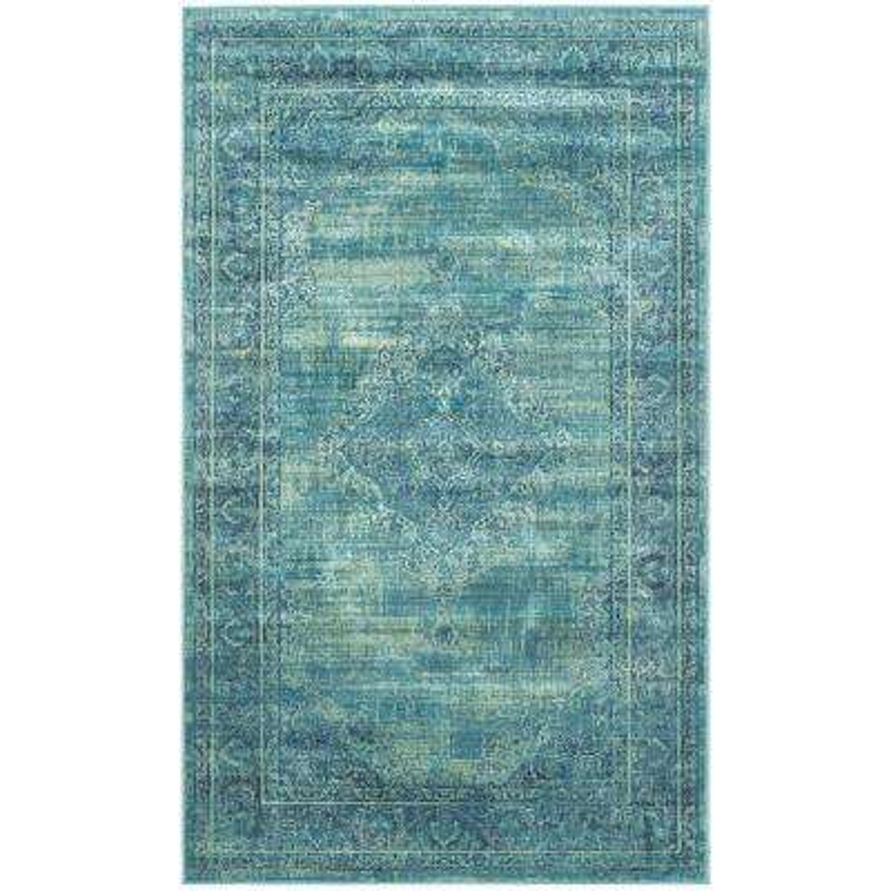 Vintage Turquoise/Multi 2 ft. x 3 ft. Area Rug