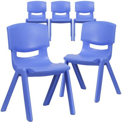 Blue Plastic Stack Chairs (Set of 5)