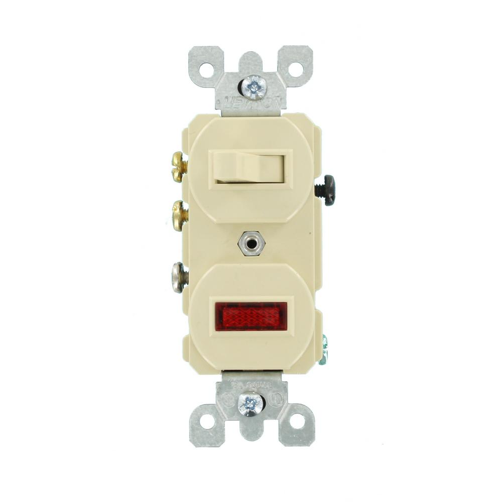 Leviton 15 Amp Commercial Grade Combination 3 Way Toggle Switch A Light Receptacle Combo Wiring Pilot Ivory