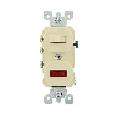 15 Amp Commercial Grade Combination 3-Way Toggle Switch/Pilot Light, Ivory