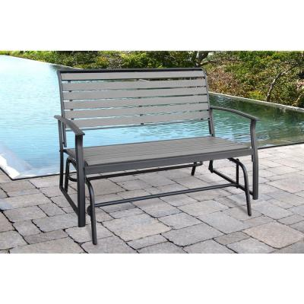 Metal Outdoor Everwood Harrington 2 Seat Dark Gray Glider