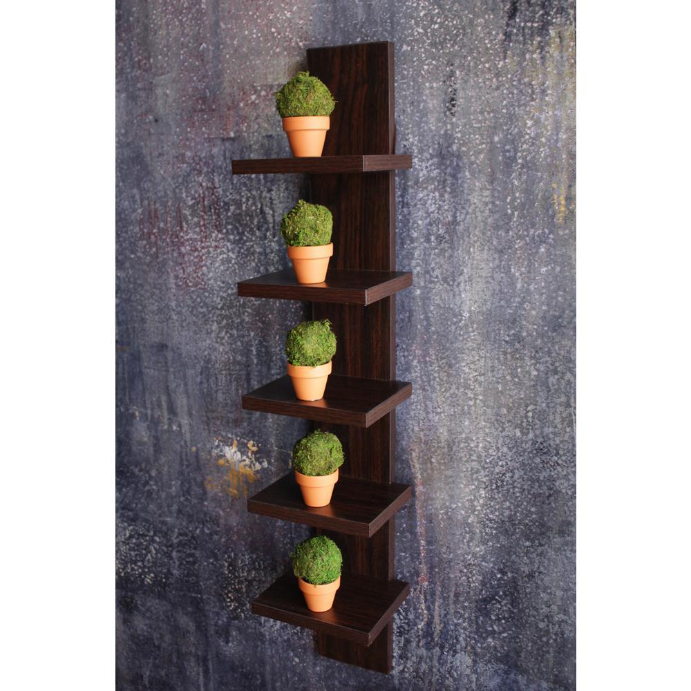 Contempo 6 in. W x 30 in. H Walnut Grain Laminate MDF Utility Column Spine Wall Shelf