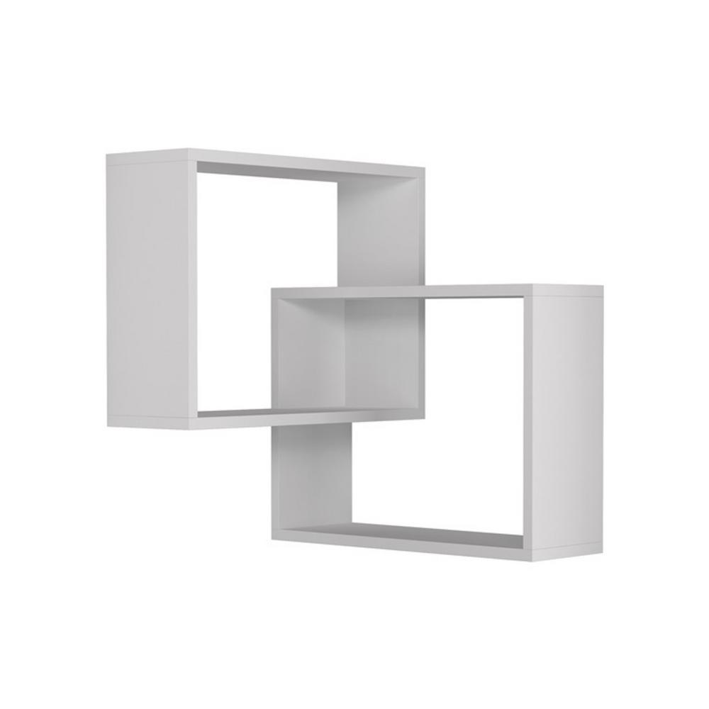 Ada Home Decor Warner White Mid-Century Modern Wall Shelf DCRW2181
