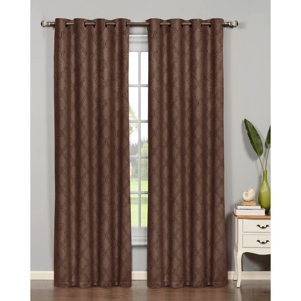 Semi-Opaque Newbury Lattice 84 in. L Room Darkening Grommet Curtain Panel Pair, Chocolate (Set of 2)