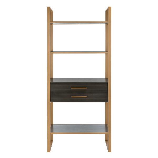 72 in. Gold/Gray Metal 4-shelf Etagere Bookcase with Open Back