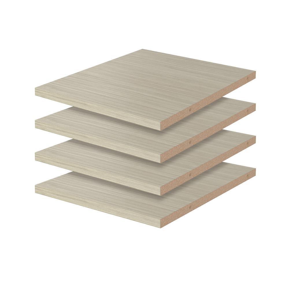 Closet Evolution 14 in. D x 12 in. W Rustic Grey Wood Shelf (4-Pack)