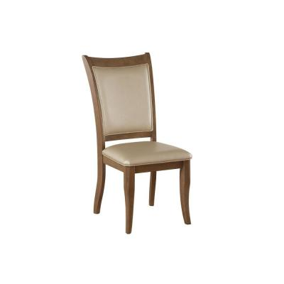 Beige and Brown Leatherette Upholstered Wooden Side Chair (Set of 2)