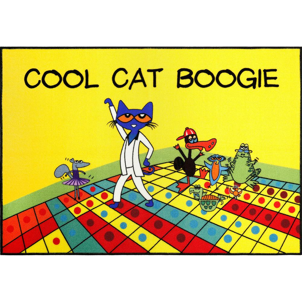 Pete The Cat Elementary Red Cool Cat Boogie 6 Ft 6 In X 9 Ft 5 In Indoor Area Rug