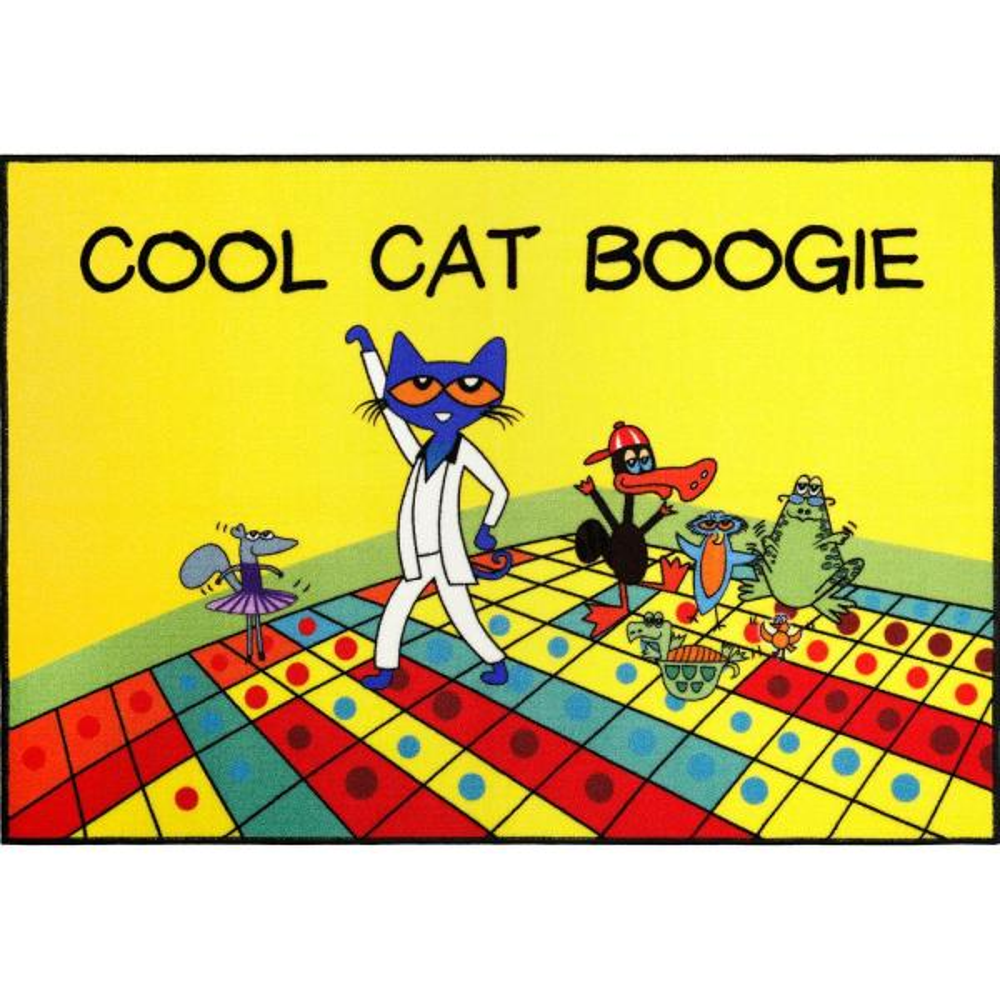 Elementary Red Cool Cat Boogie 6 ft. 6 in. x 9 ft. 5 in. Indoor Area Rug