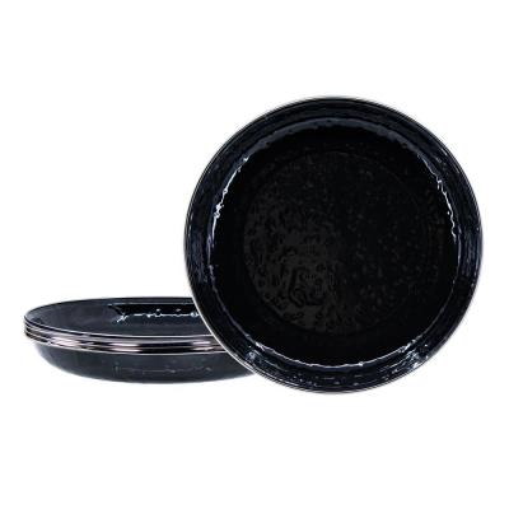 10 in. Solid Black Enamelware Deep Pasta Plates (Set of 4)
