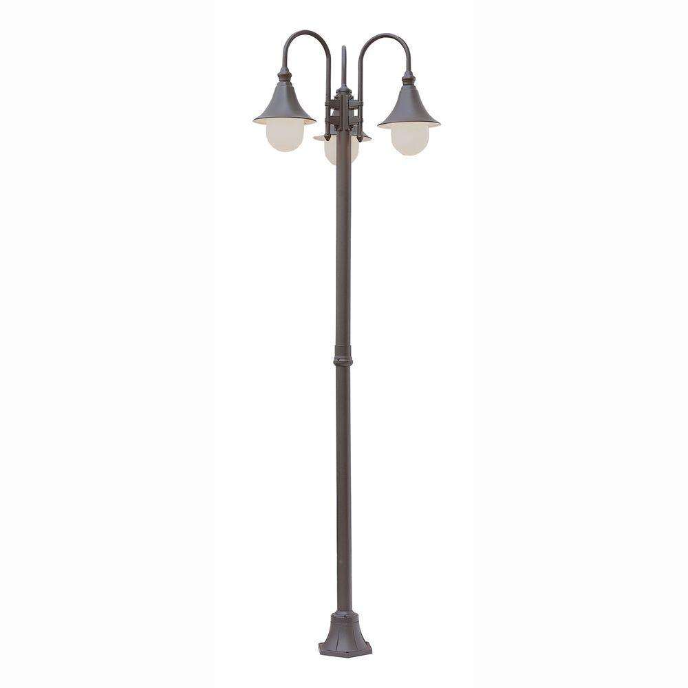 Pier Hook 3-Light Outdoor Rust Lamp Post with Opal Polycarbonate Shade