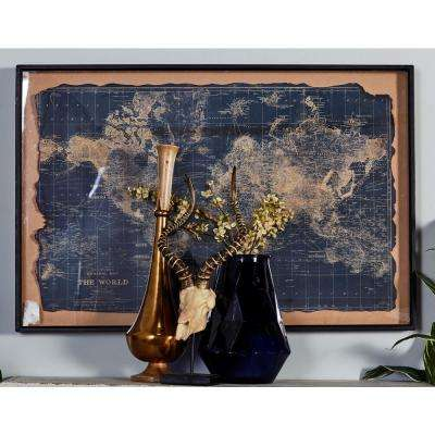 "32 in. x 47 in. ""Vintage World Map"" Printed Framed Canvas Wall Art"