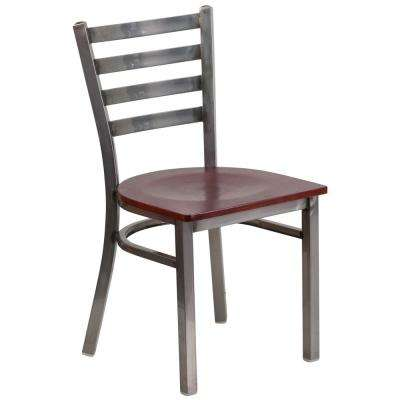 Mahogany Wood Seat/Clear Coated Metal Frame Metal Side Chair