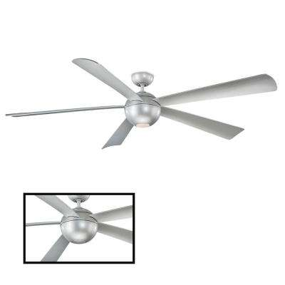 Orb 82 in. LED Indoor/Outdoor Automotive Silver 5-Blade Smart Ceiling Fan with 3000K Light Kit and Wall Control