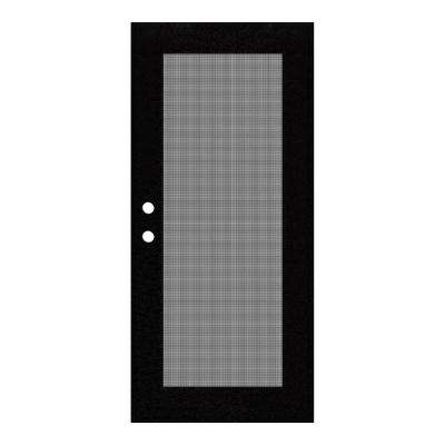 30 in. x 80 in. Full View Black Right-Hand Surface Mount Security Door with Meshtec Screen