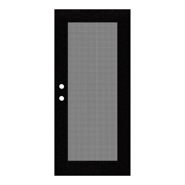 36 in. x 80 in. Full View Black Right-Hand Surface Mount Security Door with Meshtec Screen