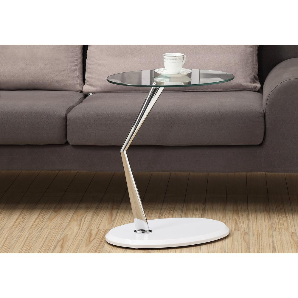 Monarch Specialties White Glass Top End Table