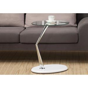 Monarch Specialties White Glass Top End Table by Monarch Specialties