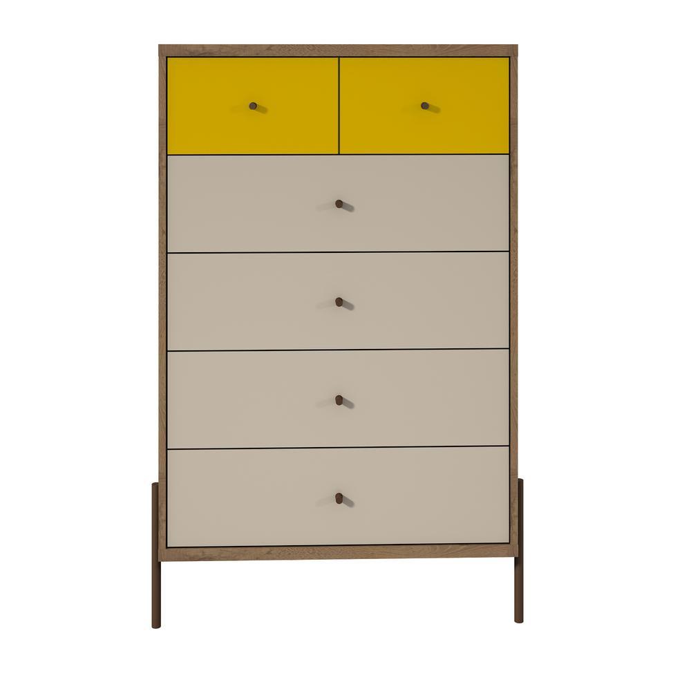 Manhattan Comfort Joy 48 43 In Tall 6 Drawer Yellow And Off White Dresser