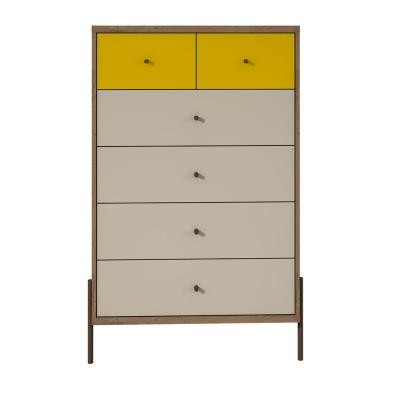 Joy 48.43 in. Tall 6-Drawer Yellow and Off White Dresser